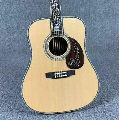 Top Quality D Style 45 Solid Acoustic Guitar Real Abalone Inlay With Hardcase