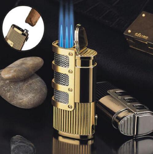 JOBON Triple Jet Torch Flame Lighter Refillable Butane Torch Cigar Lighter Gold