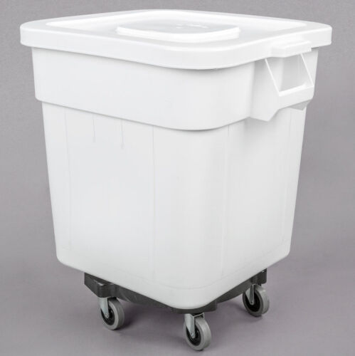 32 Gallon Dry Ingredient White Storage Bin Casters Commercial Restaurant NSF