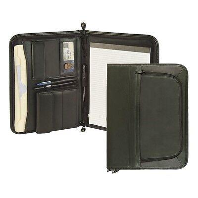 New Leatherette Premium Binder Folder Portfolio Organizer Planner Zipper Black