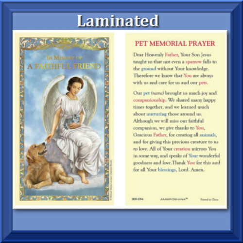 Pet Memorial LAMINATED Holy Prayer Card Gilded Gold In Memory of Faithful Friend