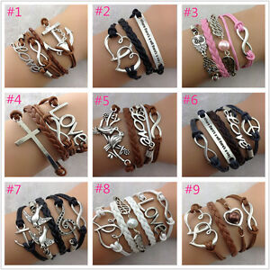 FREE-Adjustable-Handmade-leather-Suede-Wrap-Tibetan-silver-Bracelet-many-styles