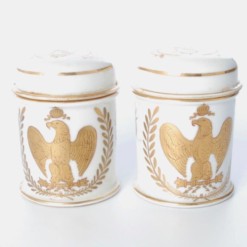 ANTIQUE PAIR OF GILT NAPOLEONIC PORCELAIN JARS W/ BEE & EAGLE DESIGN C.1815