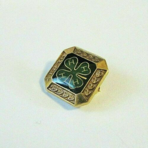 """Vintage Antique Engraved Square Gold/ Brass Tone 4H Lapel Pin """"Fifth"""""""