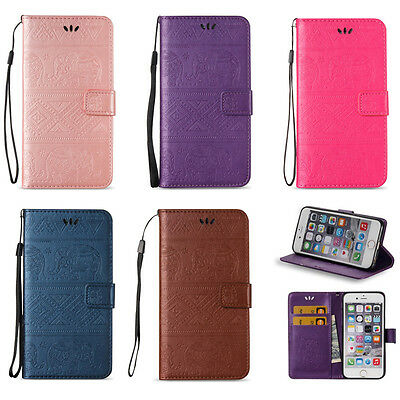 Embossed Elephant Leather Wallet Case Flip Cover Stand Card Slot for Cell (Embossed Leather Case)