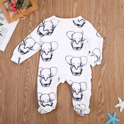 Cute Baby Boy Girl Cotton Clothes Babies Little Elephant Romper Jumpsuit 12M
