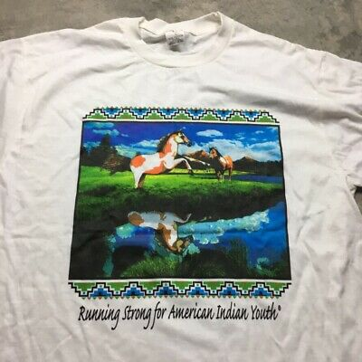 90s VTG RUNNING STRONG FOR AMERICAN INDIAN YOUTH T Shirt Native Horse Adult L - Indian Running T-shirt
