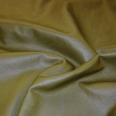 125 sf 3 oz. Khaki Green Upholstery Cow Hide Leather Skin e63IJK