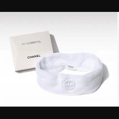 NIB CHANEL CC Logo VIP Fluffy White Plush Terry Spa Facial Shower Headband Hair