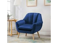 To sell quickly before moving out : Soft Velvet Armchair with solid wooden legs (Midnight blue)