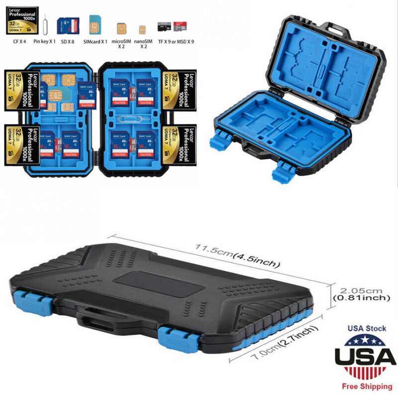 Waterproof Memory Card Case Hard Protector Box Storage Holder for SD/TF/CF Cards