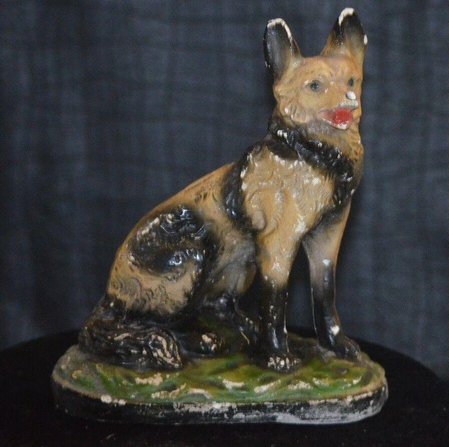 Ancienne statue de chien berger allemand en platre