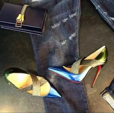 Christian Louboutin Sharpstagram Gradient Ocean-Amazone 100mm Pumps 36.5 NIB