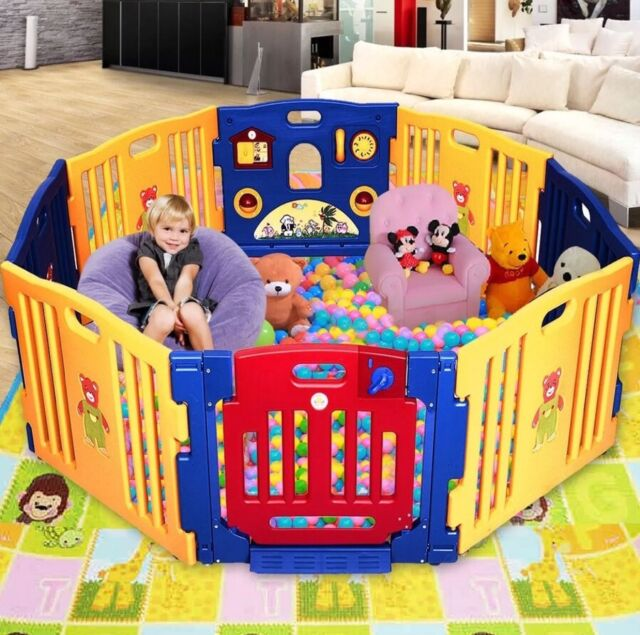 Kids Play Pen Safety Baby Plastic Playpen Toy Fence Yard Indoor ...