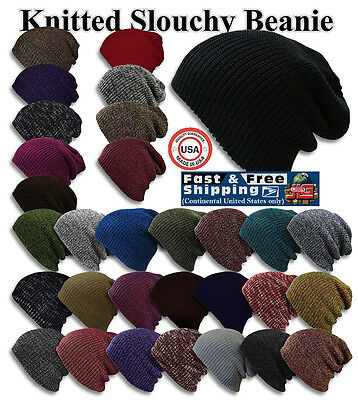(S Knit Baggy Beanie Winter Hat Ski Slouchy Chic Cap Skull Men Women USA made NEW)