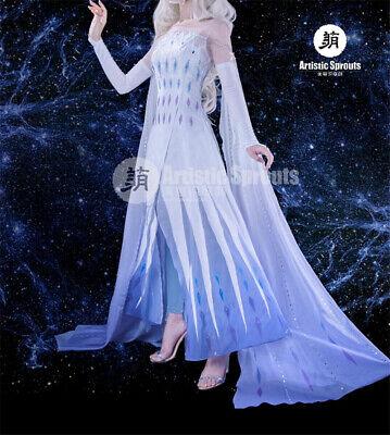 Elsa Costume For Women (New Queen Elsa Princess Dress Cosplay Costume White Transformed Dress for)