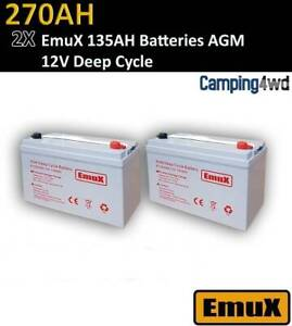 NEW EmuX 2x 12V 135AH AGM BATTERY Deep Cycle solar caravan generator