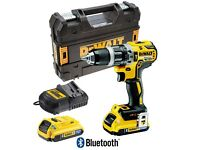 Dewalt's latest Compact Combi Hammer Drill with 2 X 2 amp Bluetooth batteries in TSTAK case.