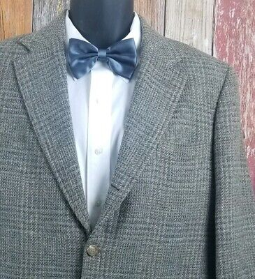 Vintage J Press Men's 3/2 Roll Green Plaid Wool Tweed Sport Coat Jacket 40 Short