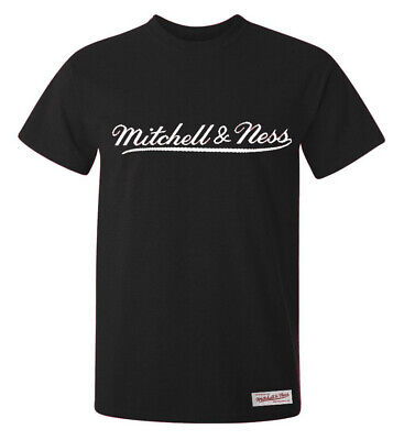 Mitchell & Ness Tailored Tee Crew Neck Short Sleeved Top Black Mens T-Shirt A39D
