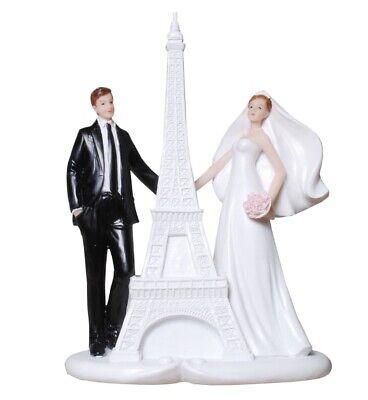 Pareja de Novios En París Con Torre Eiffel Boda Viajes 18CM Figura...