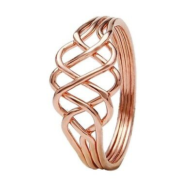 3 days delivery Gold Plated Bronz wire design Puzzle ring 4 band princess Ring Gold Plated Wire Design
