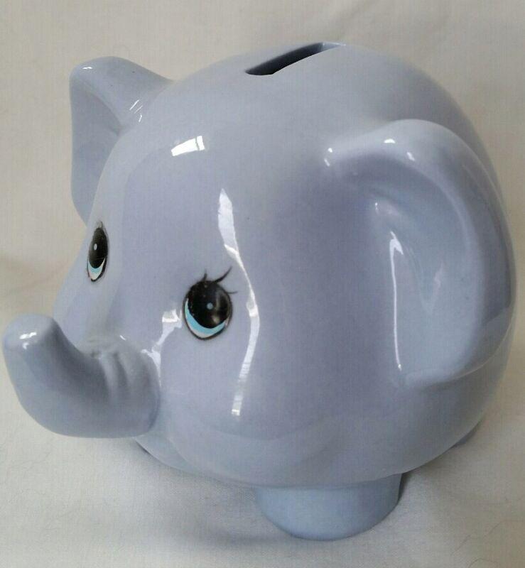 Blue Ceramic Elephant Piggy Bank
