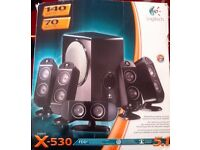 Logitech X-530 computer speakers and subwoofer