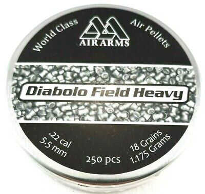 AIR ARMS FIELD HEAVY .22 Precise 5.52 Diabolo 18.0 Hot AIR GUN PELLETS (250 -