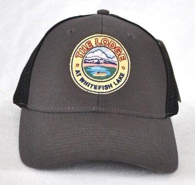 The Lodge At Whitefish Lake  Montana Trucker Mesh Ball Cap Hat Snapback