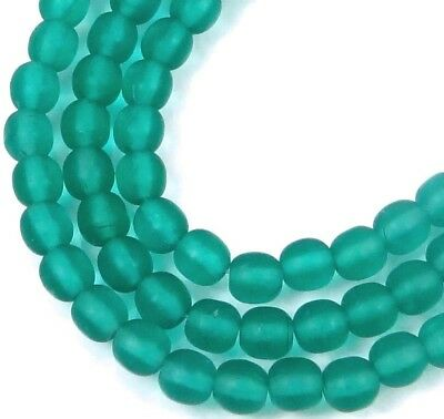 100 Czech Frosted Sea Glass Round Beads - Matte - Emerald 4mm