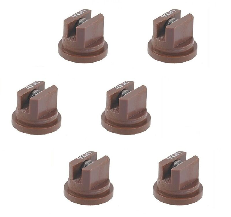 Pack of 6 - TeeJet Even Flat Spray Tip Brown 95° Polymer w/ SS Insert Visiflo