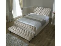 Chesterfield sleigh bed#ANY FABRIC ANY COLUR