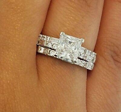 14K Solid White Gold 2 CT Princess Cut Diamond Engagement Ring Set Wedding (Princess Cut Diamond Bridal Set 14k White Gold)