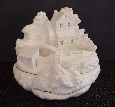 Ceramic Bisque Watermill Scene, Ready to Paint