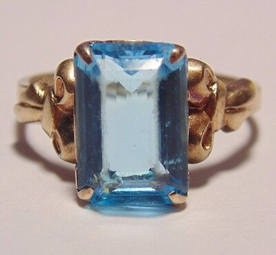 Vintage Antique 10K 417 Solid Yellow Gold Esemco Blue Topaz Bow Ring Size 7.25