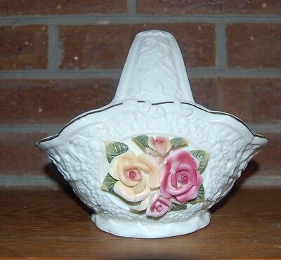 Porcelain Ivory and Gold Trim Basket with Handle & Decorative Flowers