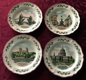 Collector's Edition of Queen's Ware Wedgwood London Christmas Plates