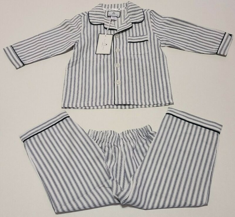 Petite Plume Size 2 Navy French Ticking Pajama Set Long Sleeve Button Top NWT