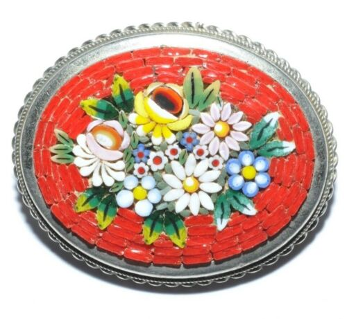 BEAUTIFUL VINTAGE MICRO MOSAIC FLOWER BROOCH ON A BRIGHT RED BASE