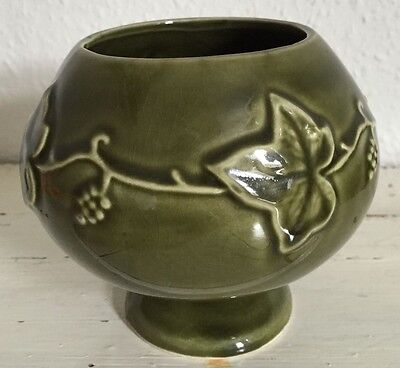 Dartmouth Pottery green ivy footed decorated vase / bowl