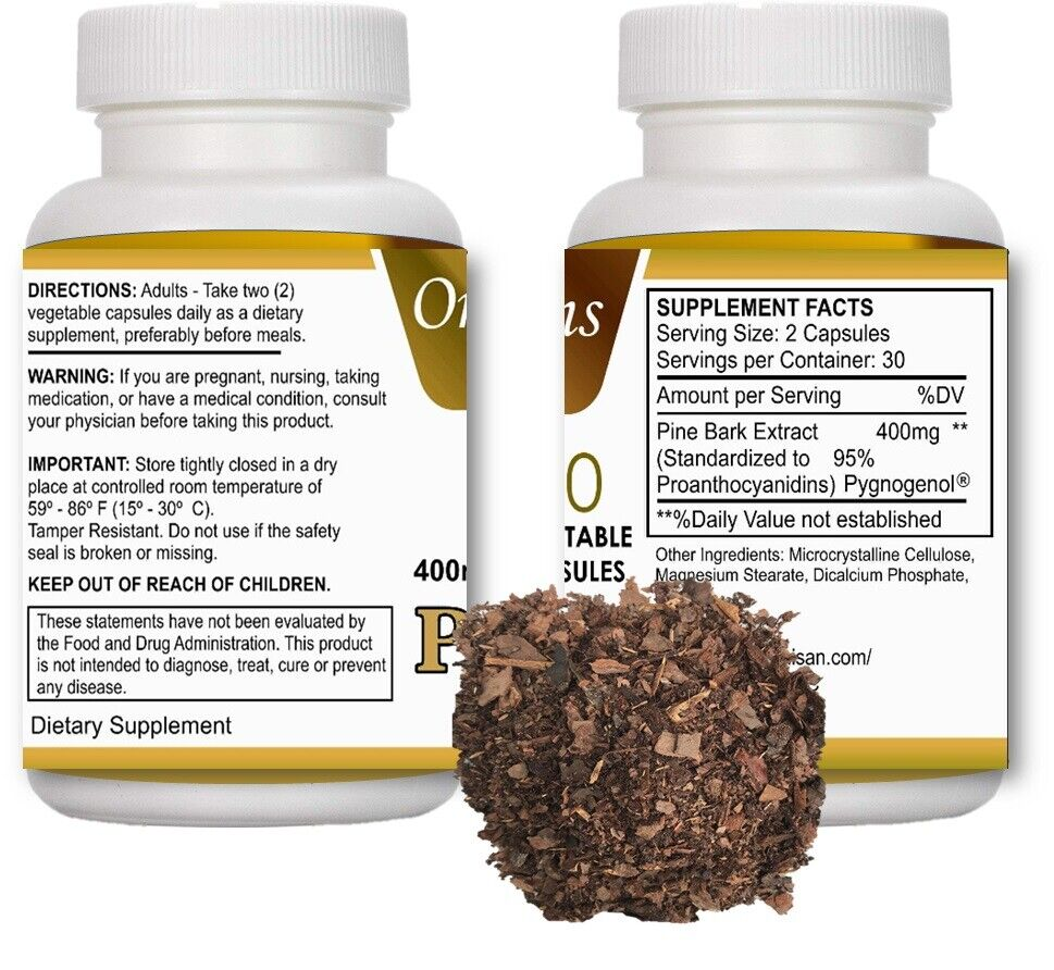 2 BOTTLES PINE BARK EXTRACT 120 caps 400MG x serving  2 BOTTLE 100% NATURAL 1