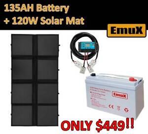 135AH AGM DEEP CYCLE BATTERY Mono 120W Folding Solar Mat $449!