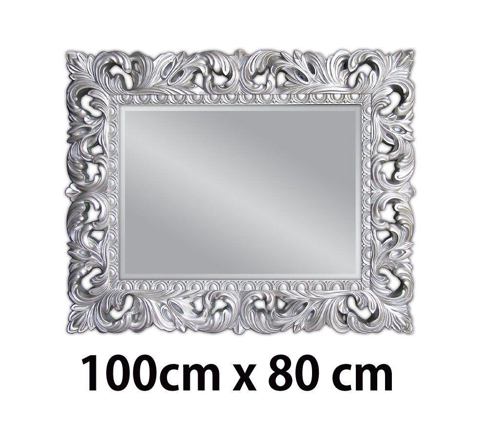 wandspiegel silber antik barock repro shabby vintage glamour 100x80 spiegel woe eur 249 00. Black Bedroom Furniture Sets. Home Design Ideas