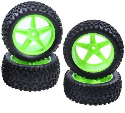 4 PCS 1:10 Rubber Front Rear RC Buggy Tire &12mm Hex Wheel Rim Set for RC Car