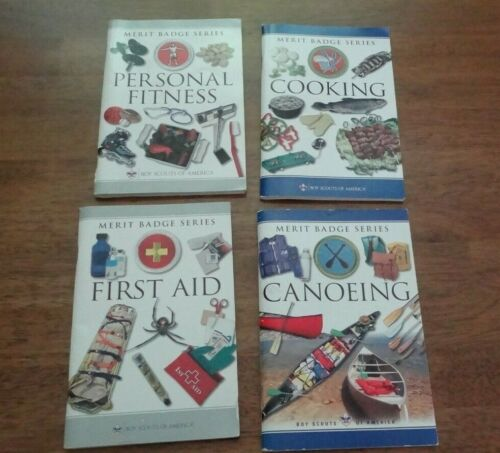 4 BOYS SCOUTS MERIT BADGE BOOKS - COOKING, FIRST AID; PERSONAL FITNESS; CANOEING