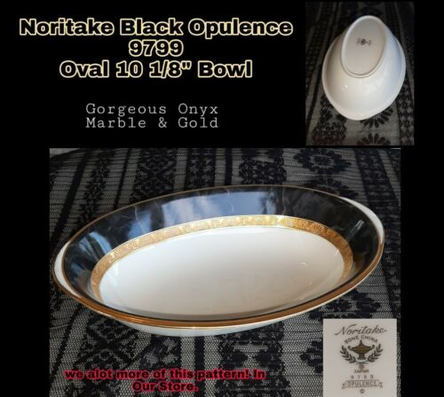 Noritake OPULENCE 10 1/8 Oval Vegetable Bowl 9799 ONYX MARBLE BLACK GOLD MINT - $72.00