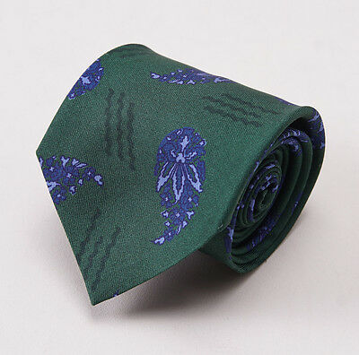 NWT $195 LUCIANO BARBERA Emerald Green-Blue Paisley Print Silk Tie Handmade