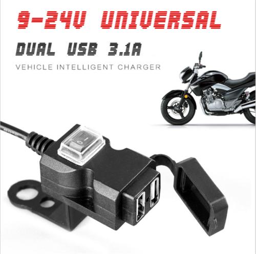Dual USB 5V 3.1A Motorrad Lenker Ladegerät mit wasserdichtem Deckel 2x Halterung
