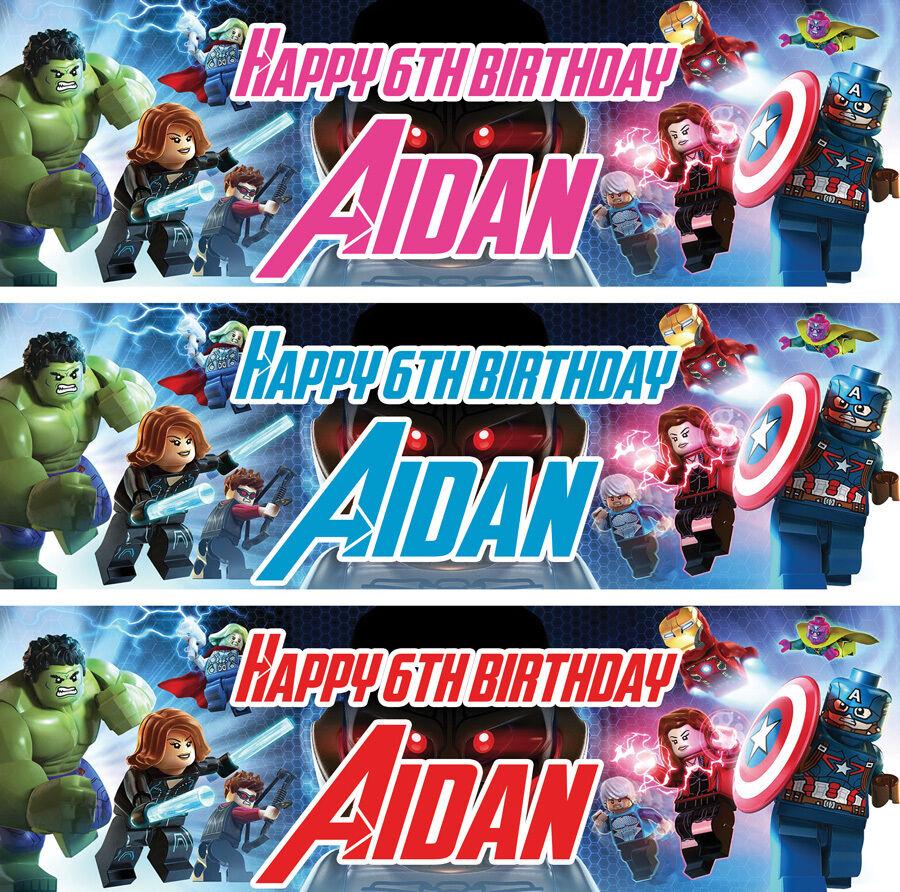 2 X Personalised Lego Avengers Birthday Banner Children